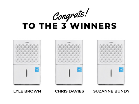 TOSOT Dehumidifier Giveaway Winners