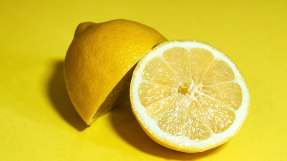 Sliced lemon with fresh smell