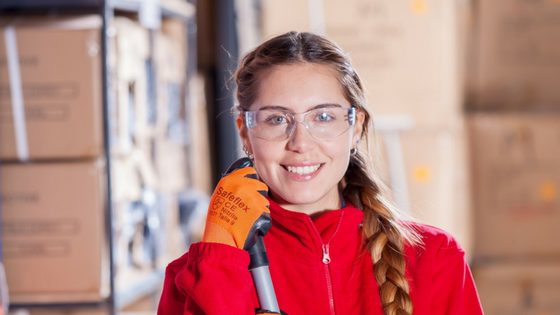 Woman Smiling with Gloves and Goggles. Photo by Pixabay on Pexels.