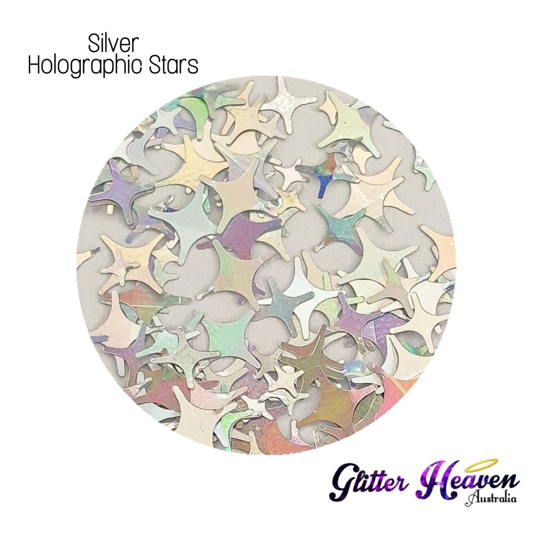Silver Holographic Stars