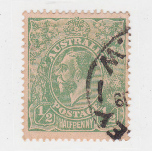Australian 1916 1/2 Penny Green King George V Stamp