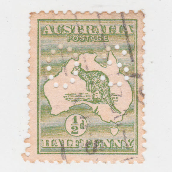 Australian 1913 1/2 Penny Green Kangaroo Stamp OS Perforation
