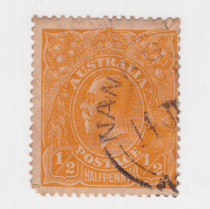 Australian 1923 1/2 Penny Orange KGV King George V Stamp - Type 2 Second Watermark