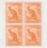 Australian 1937 1/2d Orange Kangaroo Stamp Block of 4