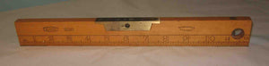 J Rabone & Sons boxwood ruler spirit level with imperial increments and brass fittings