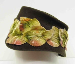 Green Felt Hat With Applied Autumn Leaves c1960