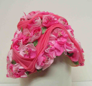 Judith White Pink Hat With Applied Floral Decoration c1960