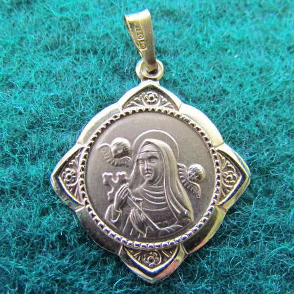 18ct Gold Madona with Cherubs Pendant 0.62gms