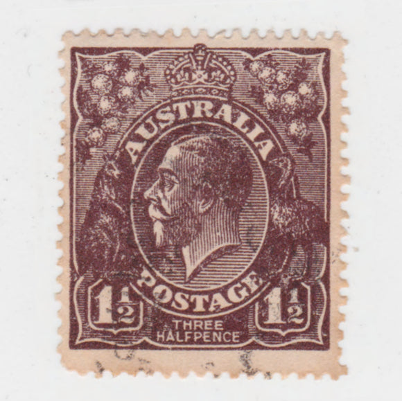 Australian 1918 1 1/2 Penny Black Brown King George V Stamp