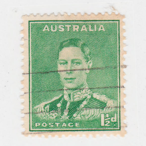 Australian 1941 1 1/2 Penny Emerald Green King George VI Stamp Type 2