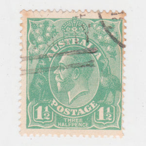 Australian 1923 1 1/2 Penny Green KGV King George V Stamp - Type 2 Second Watermark