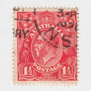 Australian 1924 1 1/2 Penny Red KGV King George V Stamp - Type 2 Second Watermark