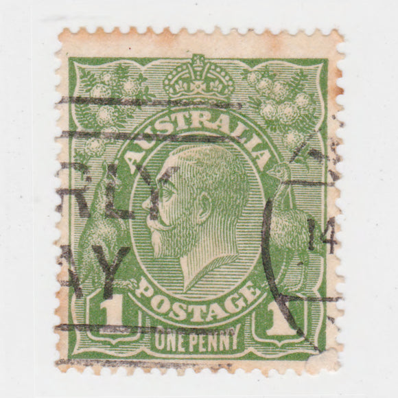 Australian 1926 1 Penny Green KGV King George V Stamp - Type 2 Second Watermark
