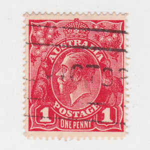 Australian 1919 1 Penny Red KGV King George V Stamp - Type 2 Second Watermark