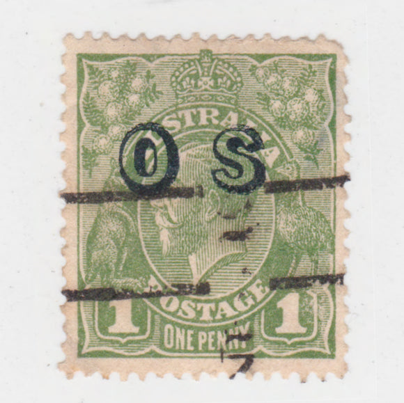 Australian 1924 1 Penny Sage Green King George V Stamp OS Overprint