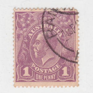 Australian 1922 1 Penny Violet KGV King George V Stamp - Type 4 Large Multiple Watermark