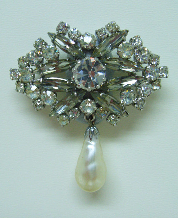Diamante brooch with drop
