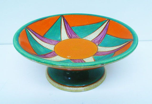 1930s Clarice Cliff early geometric design comport by Newport Potteries Buslem England