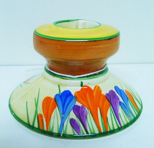 Clarice Cliff A J Wilkinsons Limited Royal Staffordshire Bizarre Crocus pattern candle stick