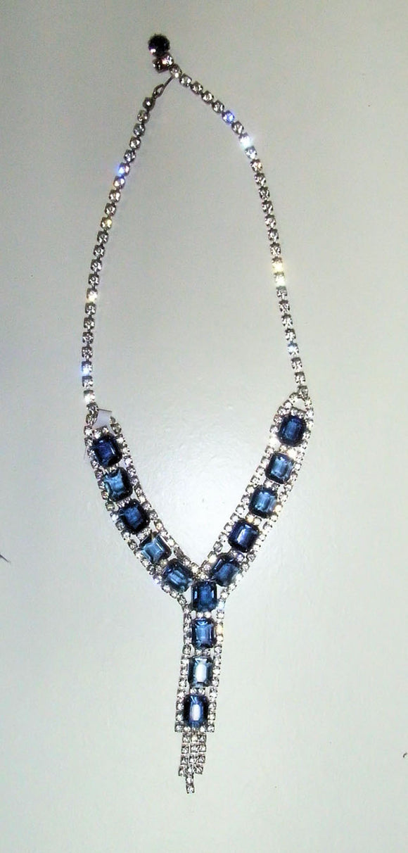 Blue diamante and rhynestone necklace