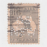 Australian 1913 2 Penny Grey Kangaroo Stamp OS NSW Perforation