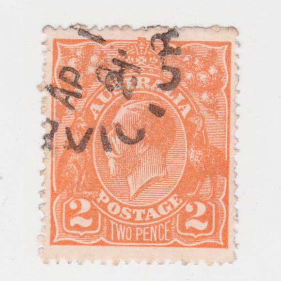Australian 1920 2 Penny Orange King George V Stamp
