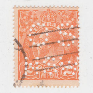 Australian 1920 2 Penny Orange King George V Stamp OS NSW Perferated