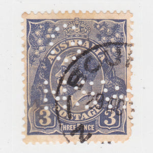 Australian 1924 3 Penny Blue King George V Stamp G NSW Perforation