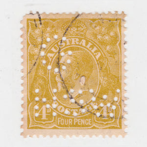 Australian 1924 4 Penny Olive King George V Stamp G NSW Perforated
