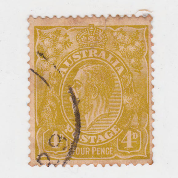 Australian 1924 4 Penny Olive KGV King George V Stamp - Type 5 Small Multiple Watermark