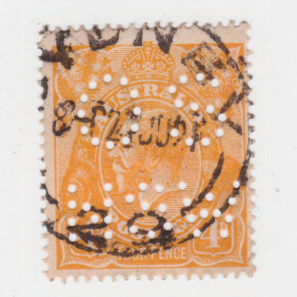 Australian 1915 4 Penny Orange King George V Stamp OS NSW Perforated