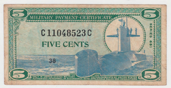 USA American 5 Cent MPC Military Payment Certificate Series 681 Issue 38 s/n C11048523C