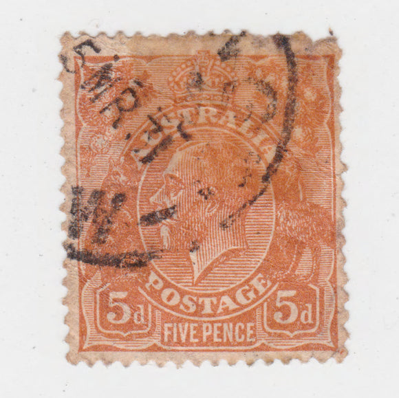 Australian 1930 5 Penny Brown King George V Stamp