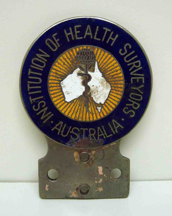 Institute of Health Surveyors enamel filled car badge