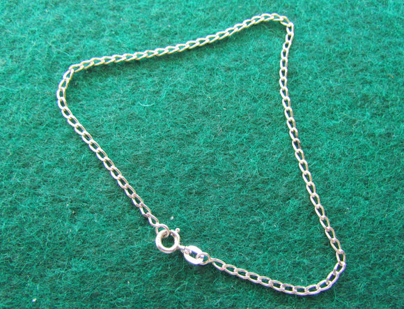 Silver 925 Flat Curb Link Bracelet Anklet With Jump Ring Clasp 2.02gms