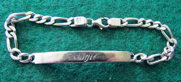 Silver 925 Flat Long Short Curb Bracelet With Crab Claw Clasp & Engraved Nameplate 7.74gms