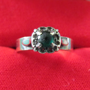 9ct Gold Dress Ring Central Green Stone Surrounded By Clear Stones