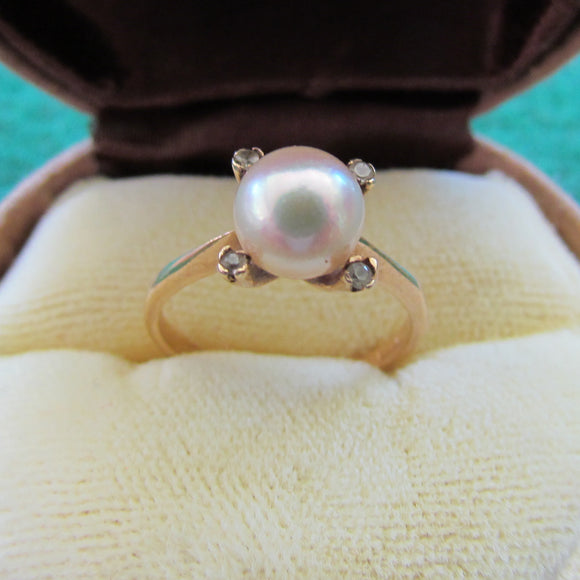 9ct Gold Pin Set Pearl Dress Ring With 4 Claw Set Aquamarines