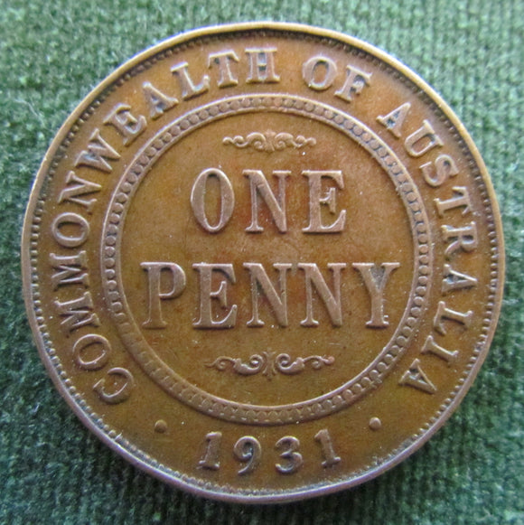 Australian 1931 1d 1 Penny King George VI Coin - Graded as VF