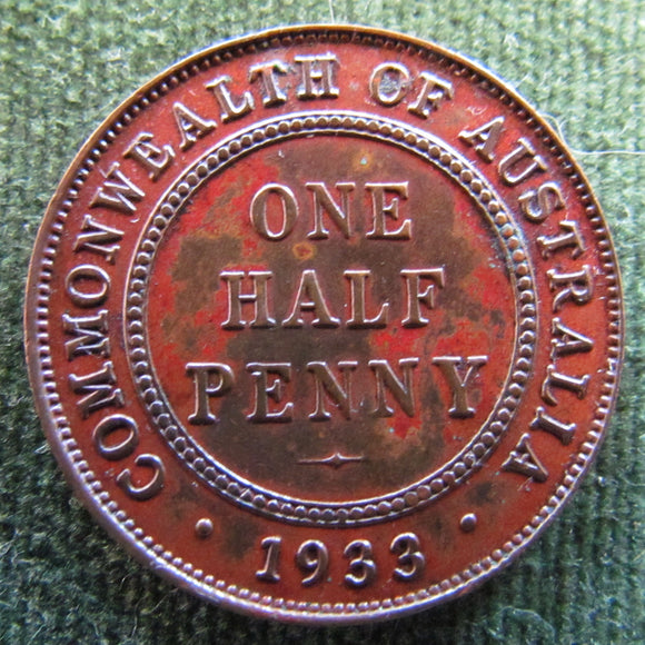 Australian 1933 1/2d Half Penny King George V Coin - Variety Low Circulation Error Coin