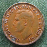 Australian 1938 1d 1 Penny King George VI Coin