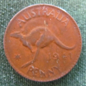 Australian 1941 1d 1 Penny King George VI Coin - Variety Weak Pressing