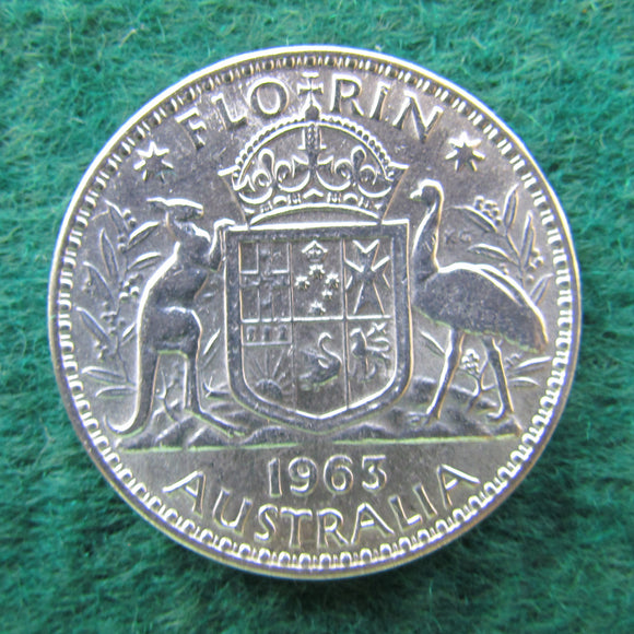 Australian 1963 Florin Queen Elizabeth II Coin - Circulated