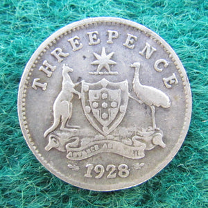 Australian 1928 Threepence King George V Coin Circulated