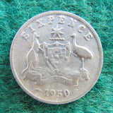 Australian 1950 Sixpence King George VI Coin - Circulated