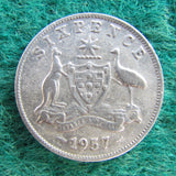 Australian 1957 Sixpence Queen Elizabeth II Coin - Circulated