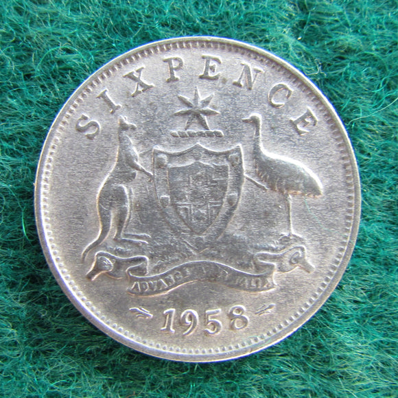 Australian 1958 Sixpence Queen Elizabeth II Coin - Circulated