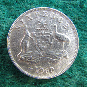 Australian 1960 Sixpence Queen Elizabeth II Coin - Circulated