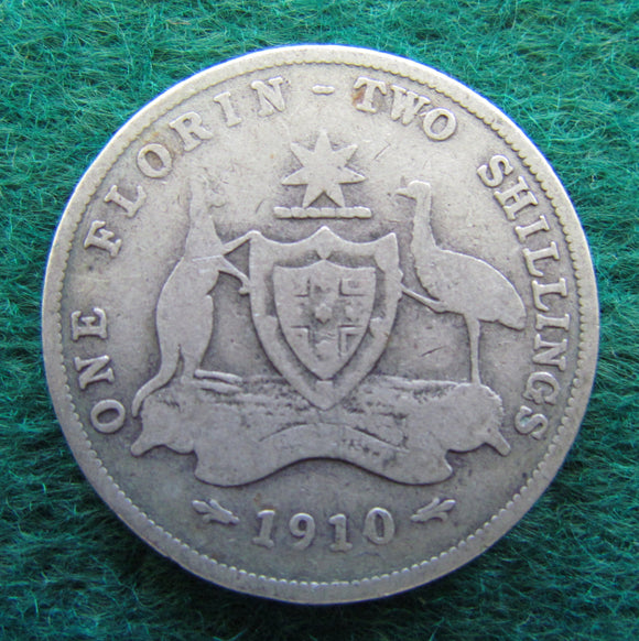 Australian 1910 Florin King Edward VII Coin - Circulated