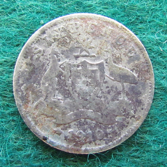 Australian 1910 Sixpence King Edward VII Coin - Circulated